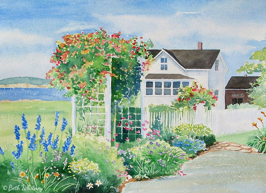 A cottage garden an original watercolor painting of maine for Watercolor cottages