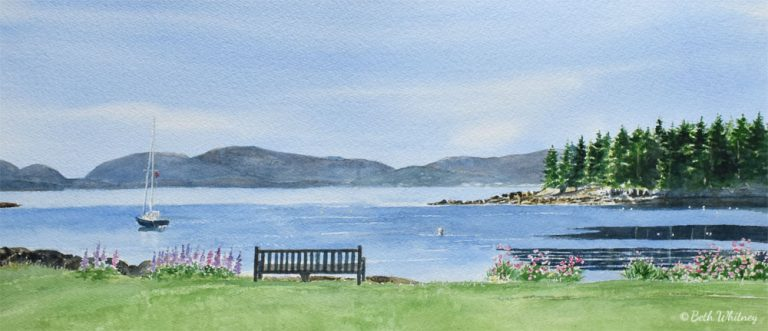 Watercolor painting of a sailboat moored in early morning with mountains of Acadia in the distance, by artist Beth Whitney | DowneastWatercolors.com