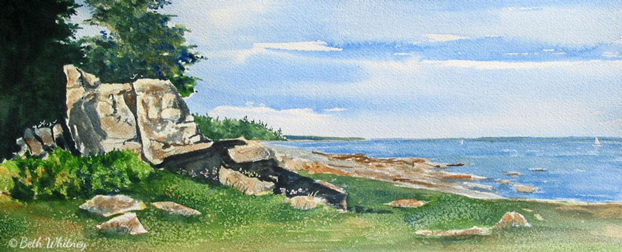 Afternoon Shadows, Schoodic is an original watercolor seascape painting by Beth Whitney | DowneastWatercolors.com