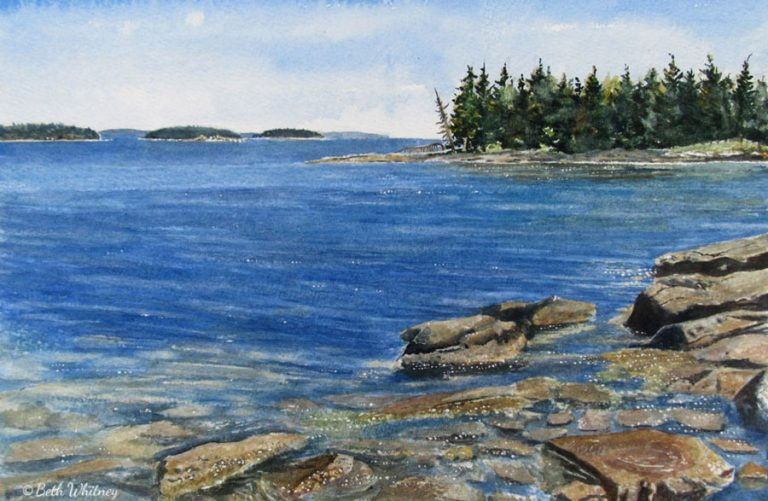 Watercolor painting of rocks at Barred Island Preserve in Crockett's Cove, Deer Isle, Maine by artist Beth Whitney | DowneastWatercolors.com