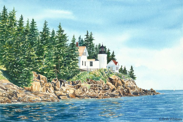 Watercolor painting from the left side of Bass Harbor Lighthouse and rocky coast on Mount Desert Island, Maine by artist Beth Whitney | DowneastWatercolors.com