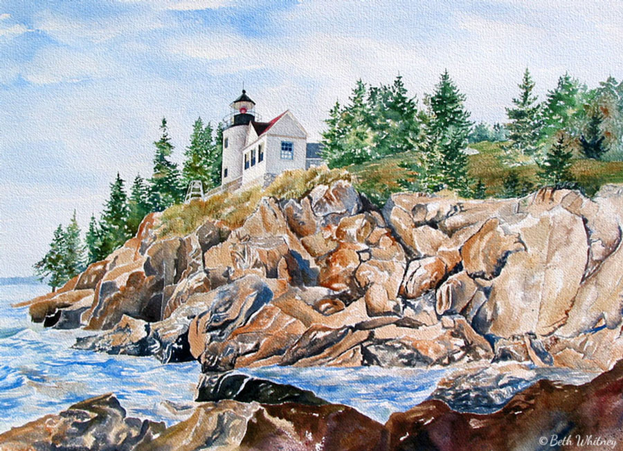 Watercolor painting of the rocky shoreline and surf at Bass Harbor Lighthouse, Maine