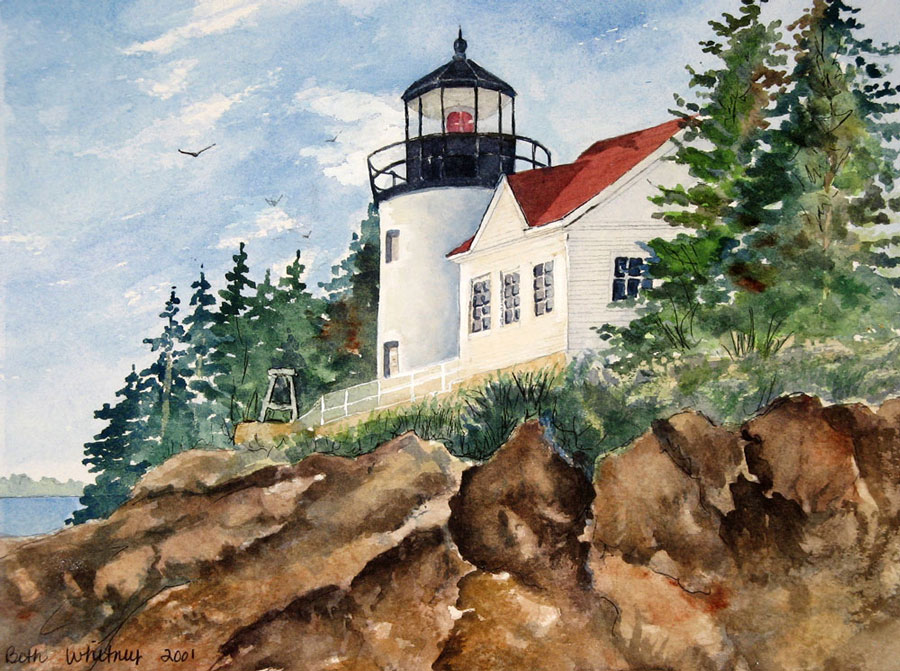 Watercolor painting of Bass Harbor Lighthouse, Maine by artist Beth Whitney | DowneastWatercolors.com
