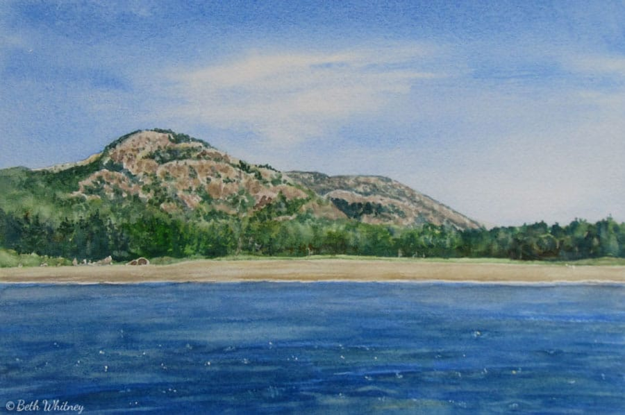 Painting of Beehive Mountain & Sand Beach in Acadia by artist Beth Whitney | DowneastWatercolors.com