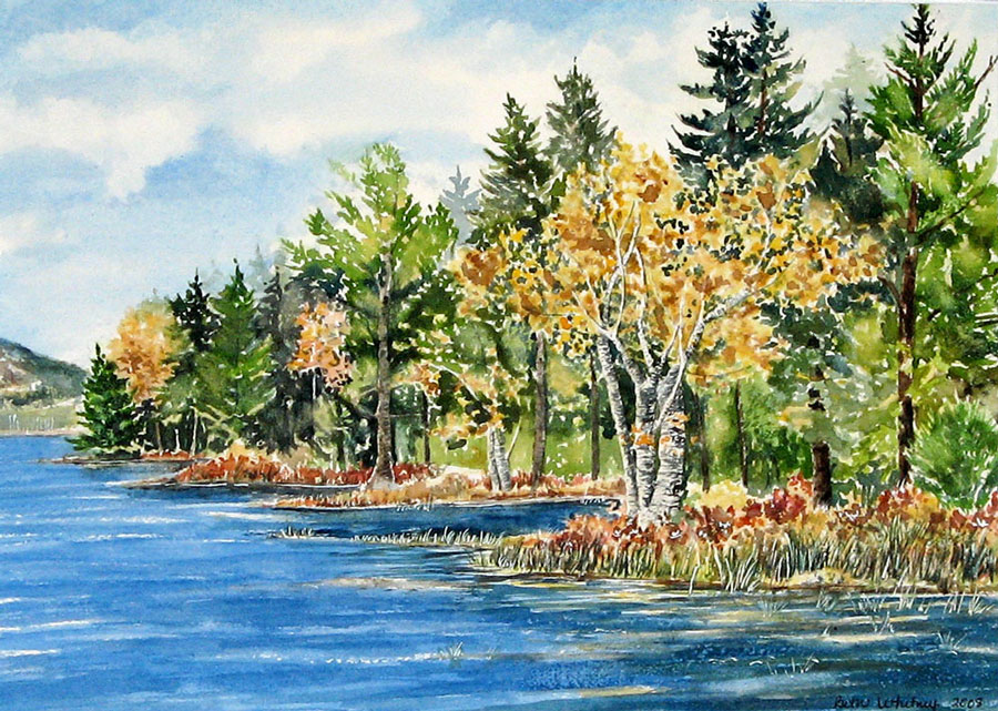 """Painting of """"Birches on Little Long Pond"""" in Seal Harbor, Maine by artist Beth Whitney 