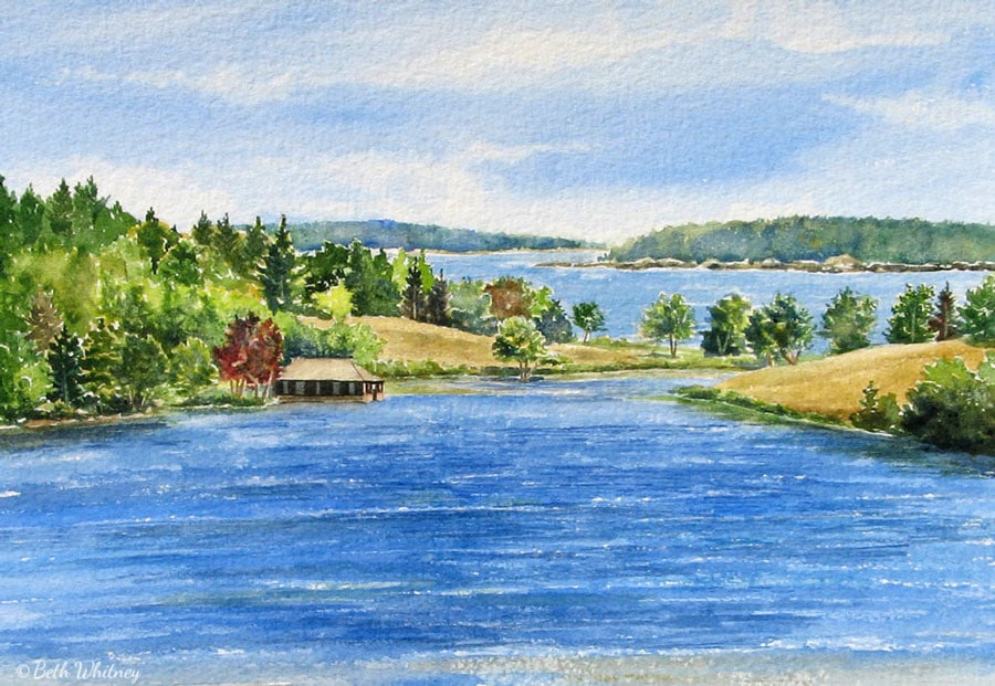 Painting of the boathouse on Little Long Pond in Seal Harbor, Maine by Beth Whitney | DowneastWatercolors.com