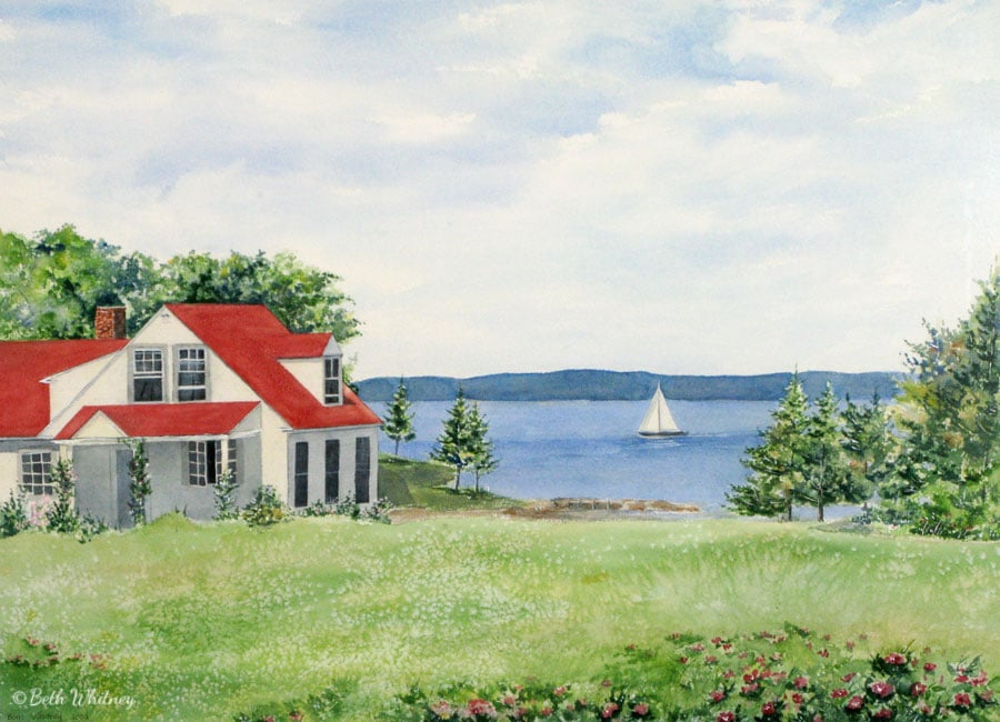 """""""Cottage on the Bay"""" is an original watercolor painting by artist Beth Whitney 