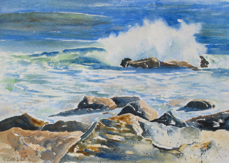 Crashing Surf, an original Maine watercolor painting by Beth Whitney