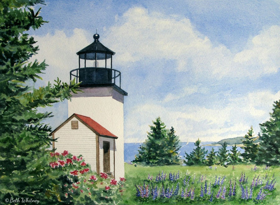 Painting of Deer Isle Thorofare Light in Maine by artist Beth Whitney | DowneastWatercolors.com