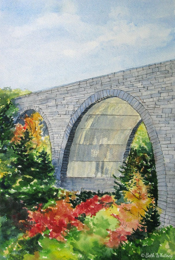 Painting of Duck Brook Bridge in Acadia National Park by Beth Whitney | DowneastWatercolors.com