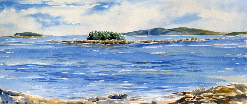 Painting of Frenchman's Bay and mountains of Acadia National Park by artist Beth Whitney | DowneastWatercolors.com