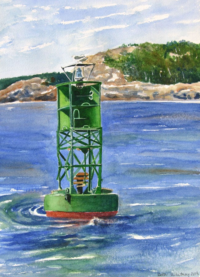 Painting of a green gong buoy in Frenchman's Bay off the coast of Mount Desert Island, Maine | Beth Whitney, DowneastWatercolors.com