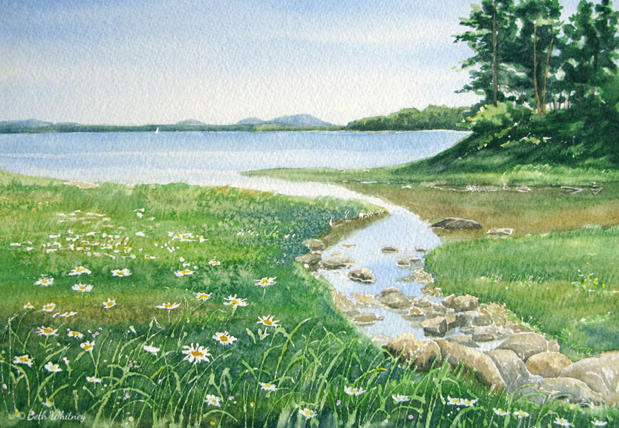 Goose Cove, an original Maine watercolor painting by Beth Whitney