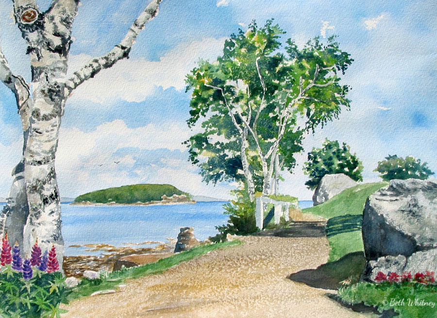 Painting of Hardy's Point at the start of Shore Path in Bar Harbor by artist Beth Whitney | DowneastWatercolors.com