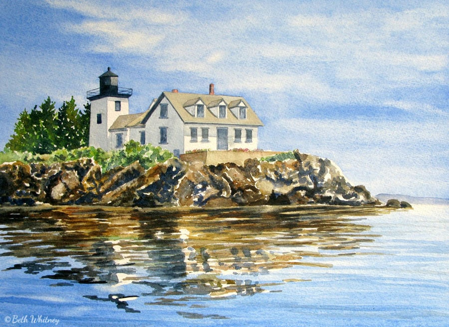 Watercolor painting of the Indian Island Lighthouse and reflections in Rockport, Maine by artist Beth Whitney | DowneastWatercolors.com