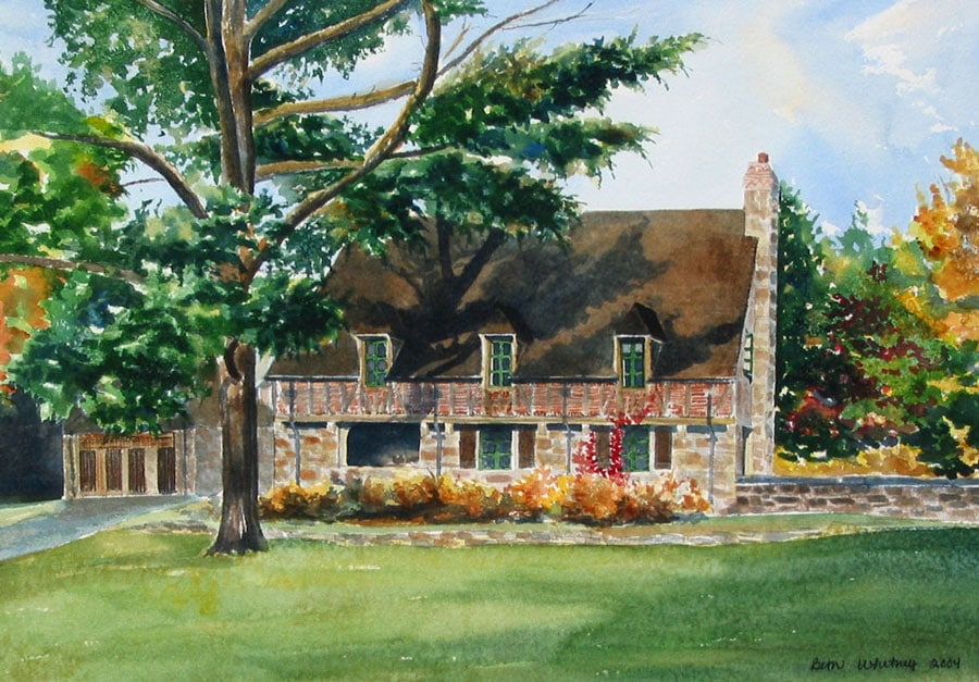 Original painting of the Jordan Pond Gatehouse in Acadia National Park, Maine by Beth Whitney | DowneastWatercolors.com