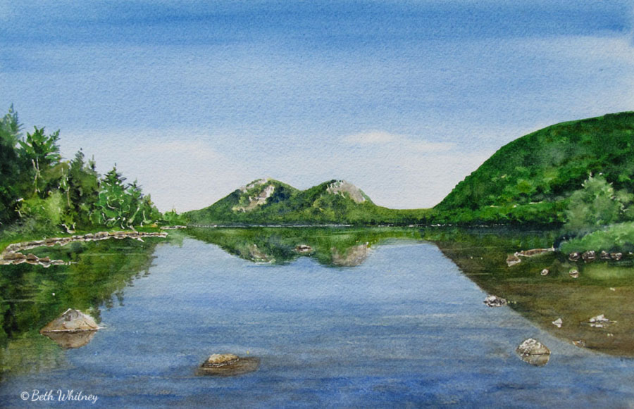 Painting of Jordan Pond Reflections in Acadia National Park, Maine by artist Beth Whitney | DowneastWatercolors.com