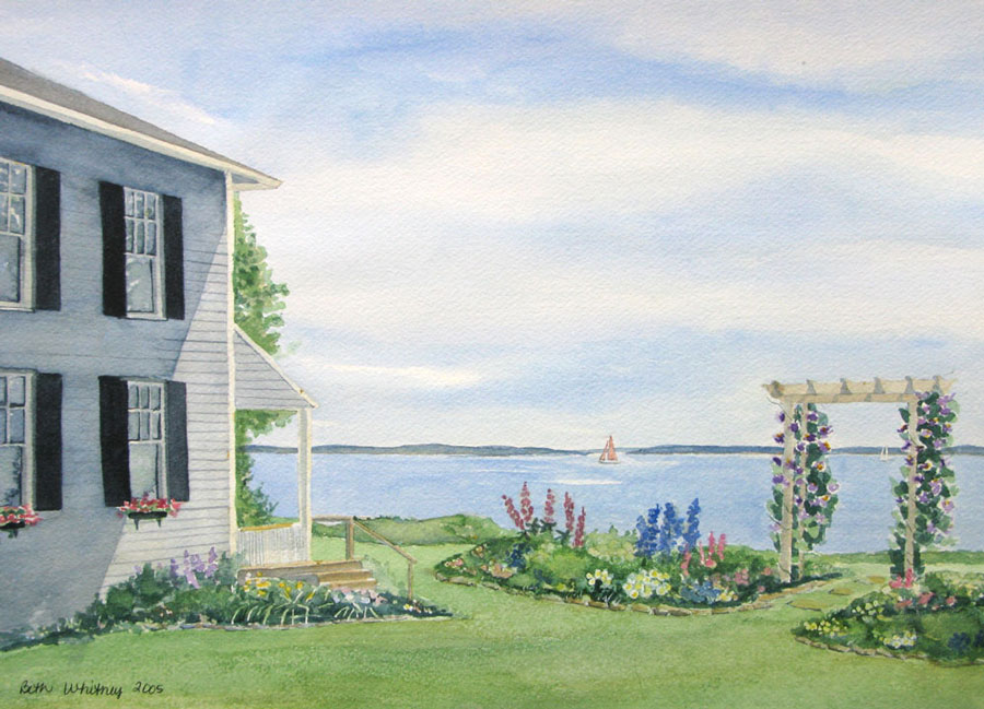 Original painting of Journey's End, a gray house with seaside garden by Beth Whitney   DowneastWatercolors.com
