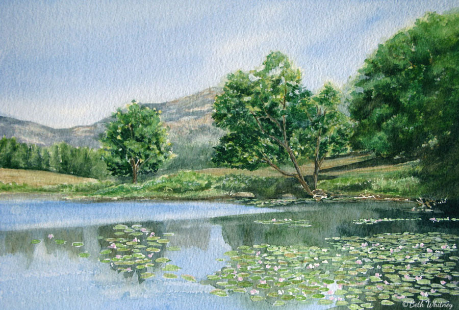 Painting by Beth Whitney showing Little Long Pond reflections and pink waterlilies floating on the surface. | DowneastWatercolors.com