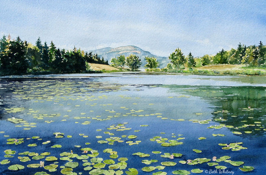 Little Long Pond I, an original Maine watercolor painting by Beth Whitney