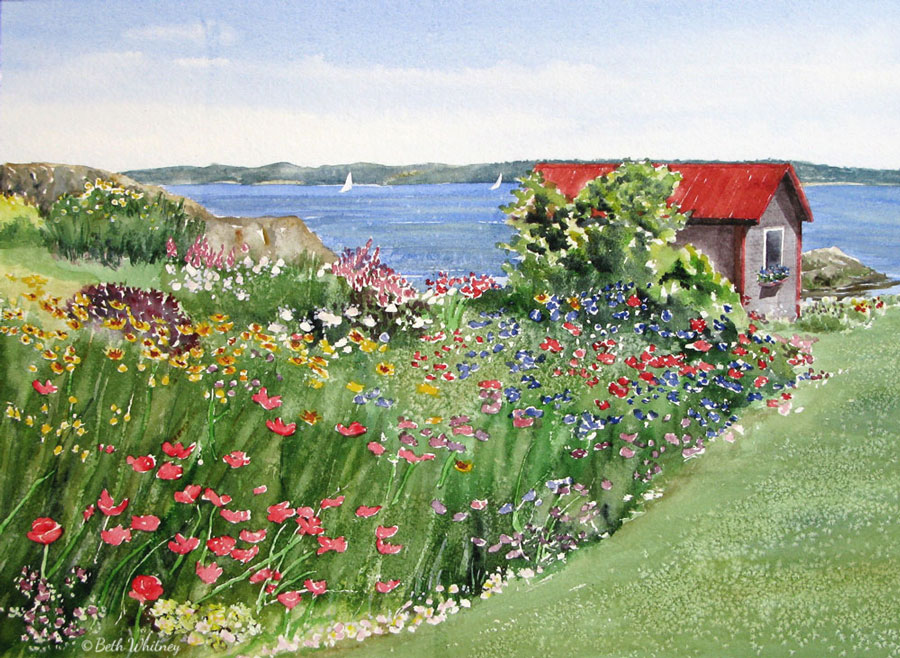 Monet's Garden Downeast, an original Maine watercolor painting by Beth Whitney