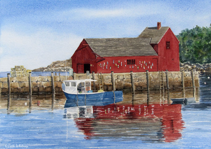 Cottage on the Bay, an original Maine watercolor painting by Beth Whitney