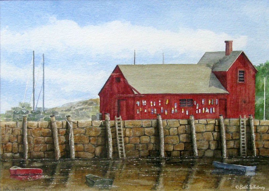 Painting of Motif #1 in Rockport, MA by artist Beth Whitney | DowneastWatercolors.com