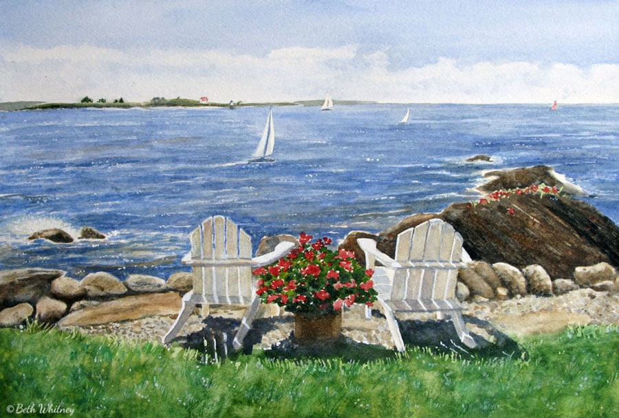 Painting of Ocean Point in East Boothbay with Ram Island Light and sailboats in the distance.  Art by Beth Whitney | DowneastWatercolors.com