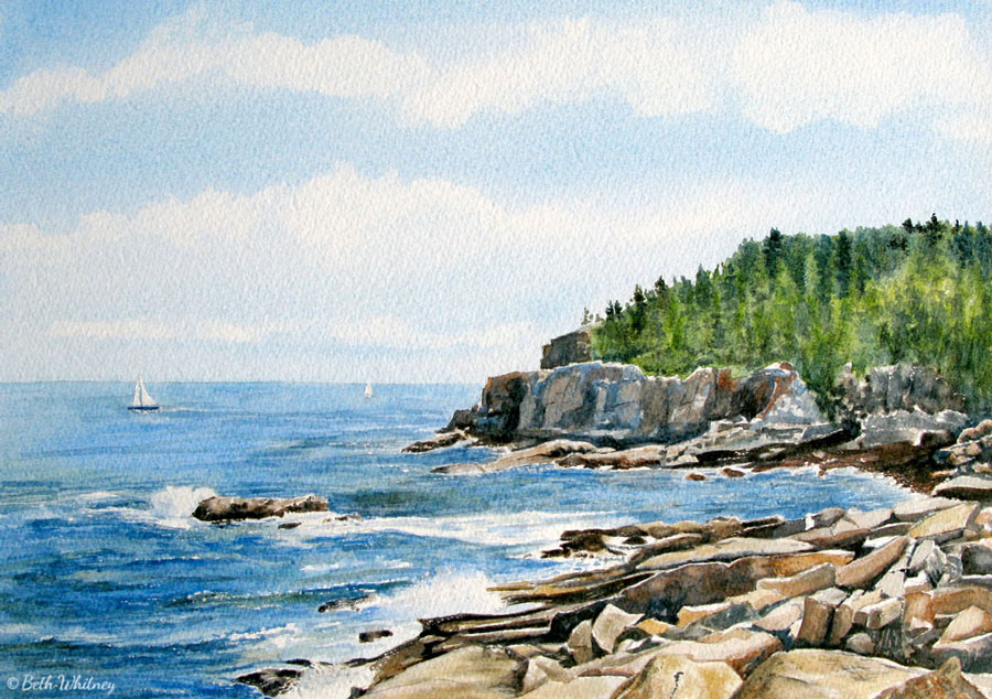 Painting of Otter Cliff in Acadia National Park, Maine by artist Beth Whitney| DowneastWatercolors.com