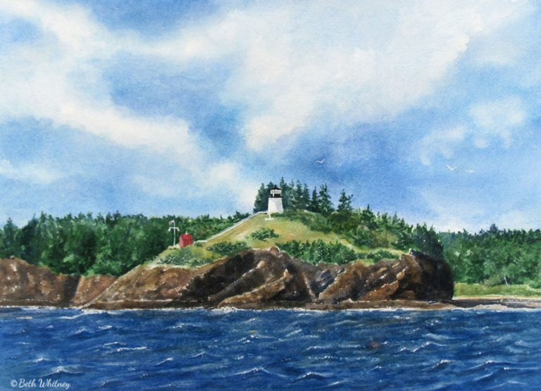 Painting of Owls Head from a sailboat on the sea by artist Beth Whitney | DowneastWatercolors.com