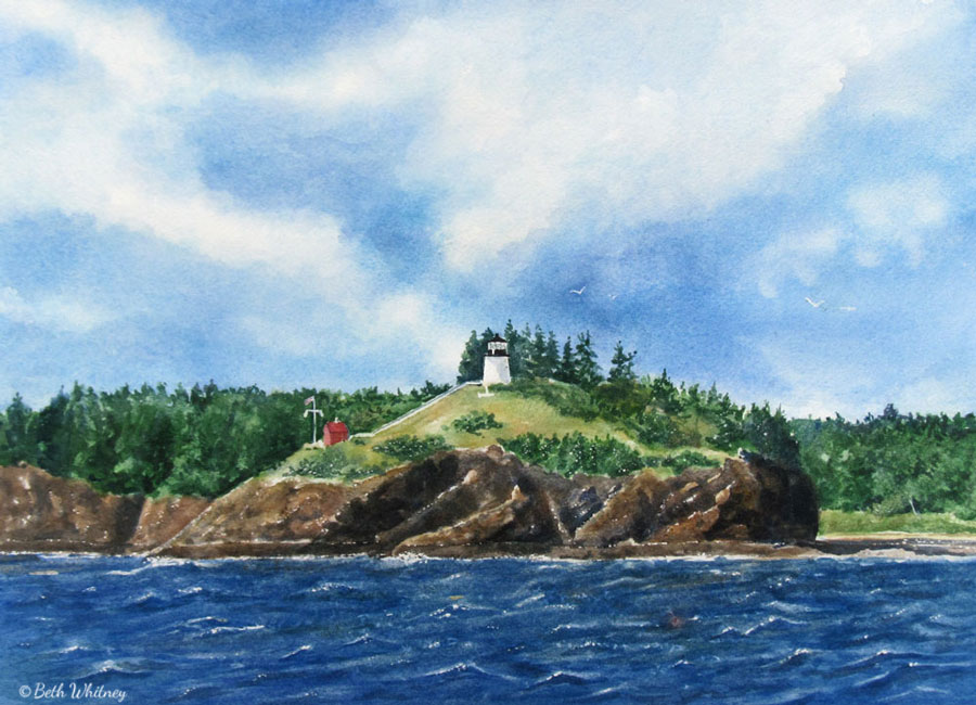 Painting of Owls Head from a sailboat on the sea by artist Beth Whitney   DowneastWatercolors.com