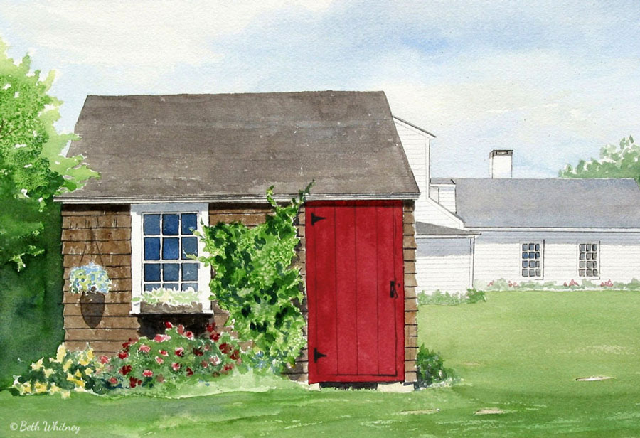 Painting of the potting shed at Aldermere Farm in Rockport, Maine by artist Beth Whitney | DowneastWatercolors.com