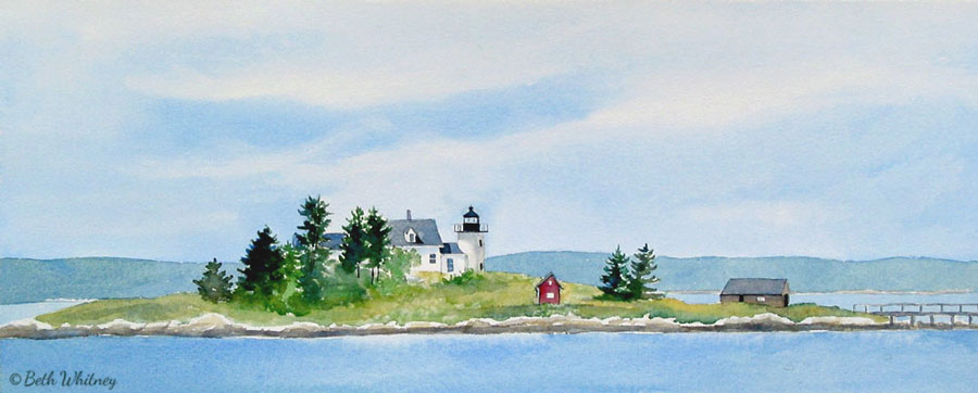 Painting of Pumpkin Island Light and Eggemoggin Reach, Maine by artist Beth Whitney | DowneastWatercolors.com