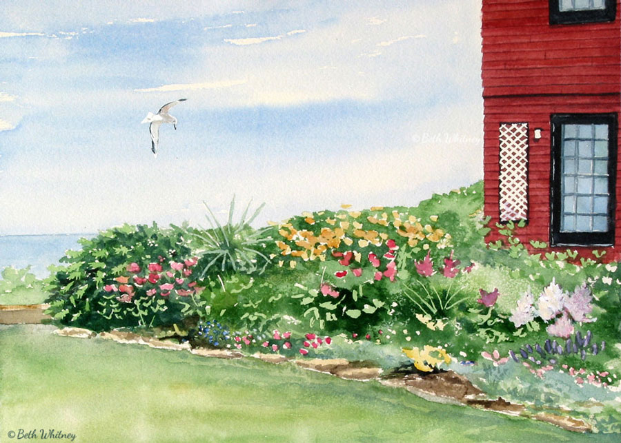 Watercolor painting of a Redwood Gatehouse garden and seagull in Bar Harbor, Maine by artist Beth Whitney | DowneastWatercolors.com