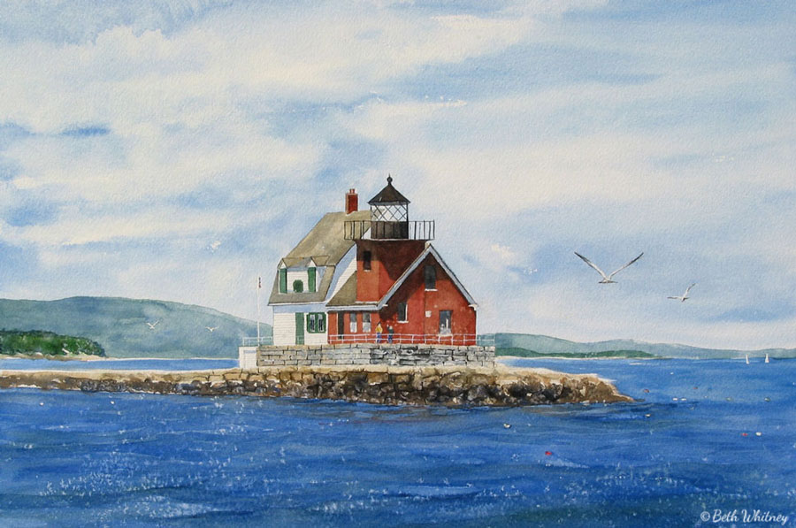 Painting of Rockland Breakwater Lighthouse by artist Beth Whitney | DowneastWatercolors.com