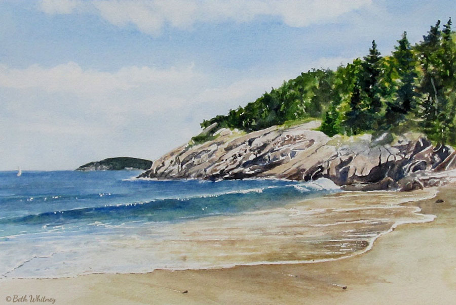 Sand Beach, Acadia National Park, Maine, original watercolor painting
