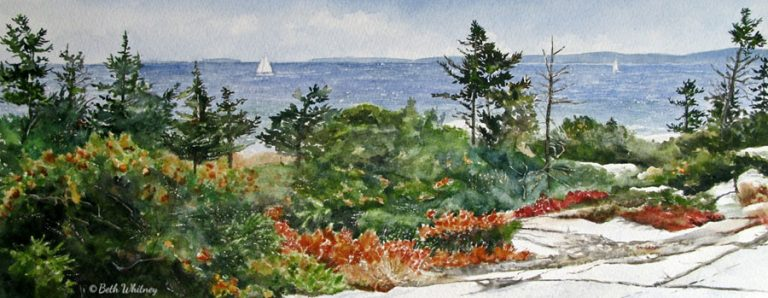Watercolor painting of sailboats off Schoodic Point in fall by artist Beth Whitney | DowneastWatercolors.com