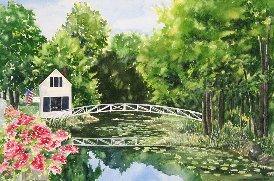 Somesville Bridge, an original watercolor painting by Beth Whitney