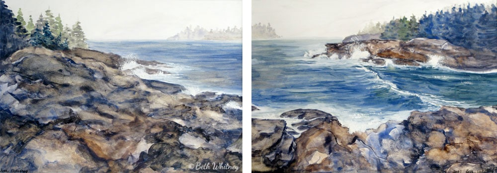Stormy Seas, an original Maine watercolor painting by Beth Whitney