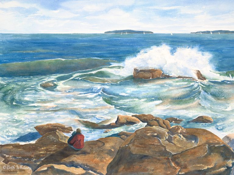 Watercolor painting of a man and his daughter sitting on the rocks, watching the tides in Acadia National Park, Maine by artist Beth Whitney | DowneastWatercolors.com