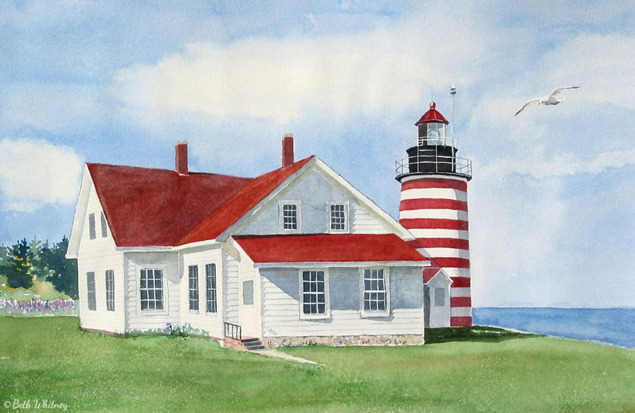 Watercolor painting of the red and white striped West Quoddy Lighthouse in June