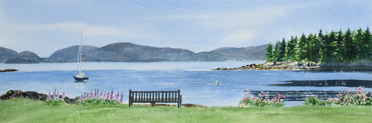 """Acadia Morning,"" original watercolor painting by Beth Whitney 