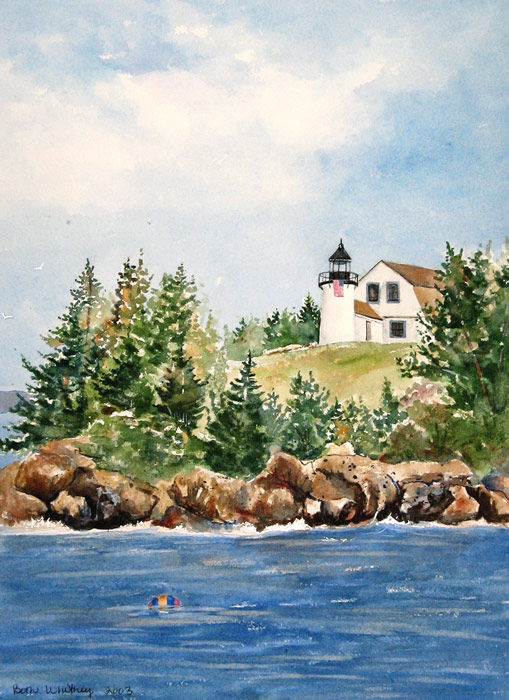 Seascape painting of Bear Island Lighthouse off Northast Harbor in Maine by artist Beth Whitney | DowneastWatercolors.com