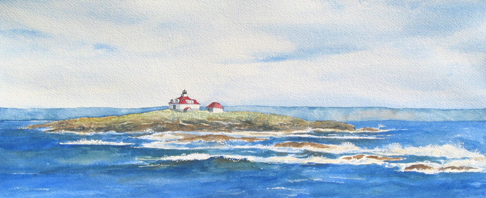 Egg rock lighthouse, perspective view in Frenchman's Bay, Maine by artist Beth Whitney | DowneastWatercolors.com