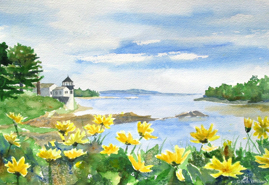 First Light, Blue Hill, an original watercolor painting by Beth Whitney