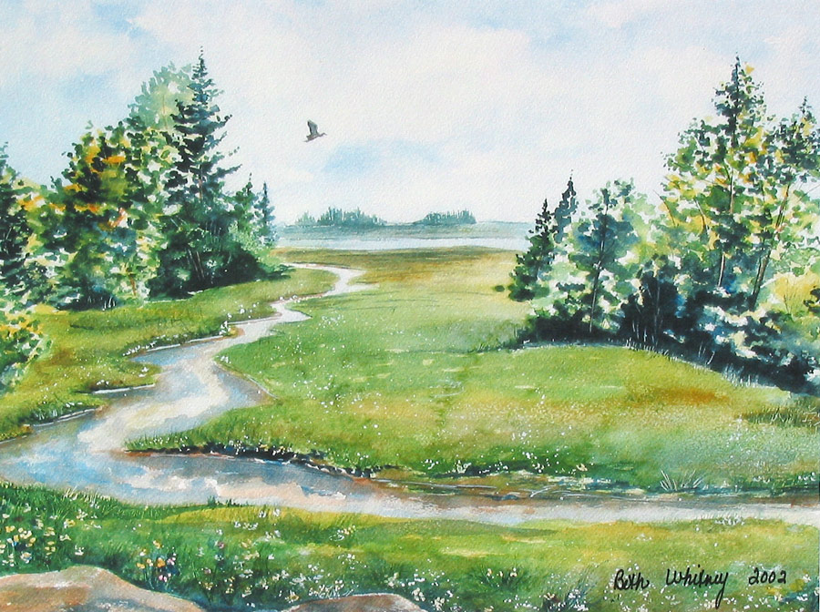 Original painting of a great blue heron flying over a marsh in South Addison, Maine | Beth Whitney, DowneastWatercolors.com