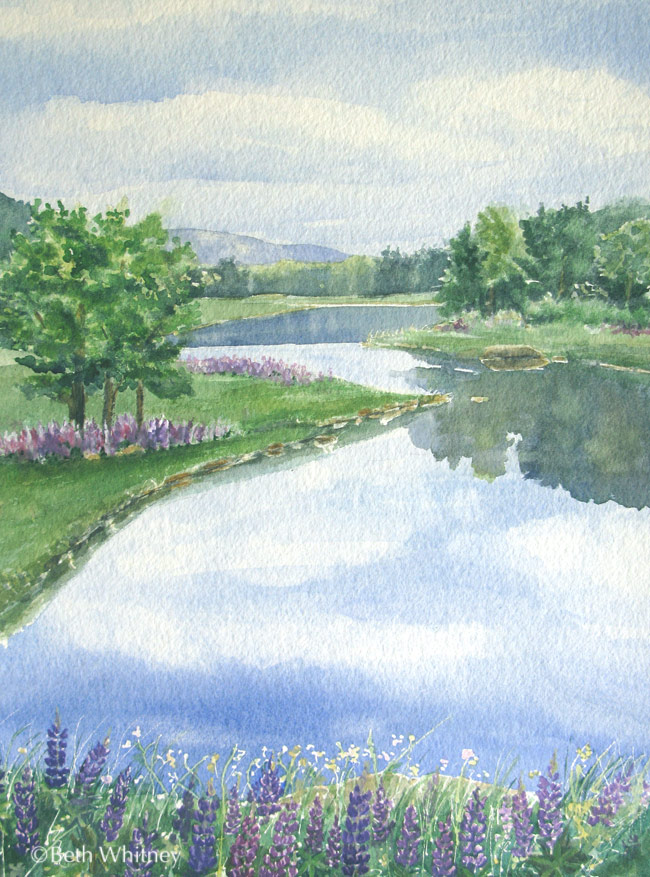 View of King's Creek in Salsbury Cove, MDI, Maine by artist Beth Whitney | DowneastWatercolors.com