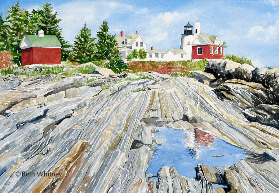 Painting of Pemaquid Lighthouse from Pemaquid Point rocks in Maine by artist Beth Whitney | DowneastWatercolors.com