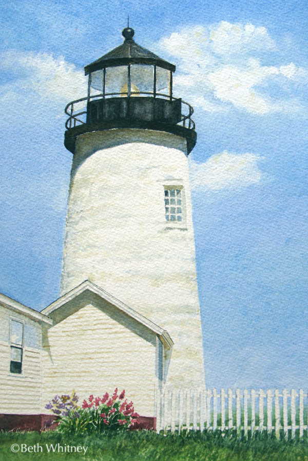 Painting of the Pemaquid Point Lighthouse tower in Bristol, Maine by artist Beth Whitney | DowneastWatercolors.com