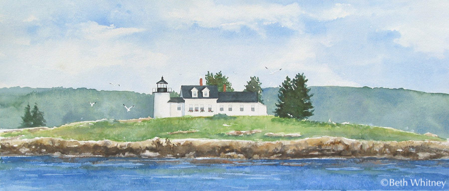 Painting of Pumpkin Island Light off Little Deer Isle, Maine by artist Beth Whitney | DowneastWatercolors.com